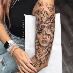 Dope Tattoos For Women, Leg Tattoos Women, Shoulder Tattoos For Women, Badass Tattoos, Models With Tattoos, Animal Tattoos For Women, Woman Tattoos, Forarm Tattoos, Body Art Tattoos