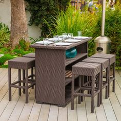 The Milton bar set will bring style and convenience to your outdoor space. Made from wicker material, this set includes six (6) backless stools and one (1) bar table.