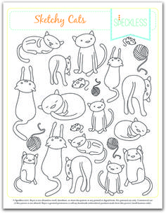 This sheet of embroidery patterns could be a coloring page... Sprout would love any of these embroidered on anything she owns.