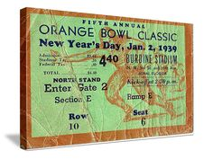 http://www.47straightposters.com/ Tennessee football ticket art on canvas. Great vintage sports art.