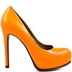 Complete your wardrobe with a classic pump with a modern twist. The Kelsi Dagger Linzy features a gorgeous orange glossy leather upper with a perfectly shaped almond toe. This pump is complete with a 4 1/2 inch stiletto heel and 3/4 inch hidden platform.