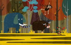 Jungle Mumble retro-modern children's book illustration by me, Rebecca Elliott