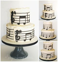 """Sugar Song Cakes: A birthday cake playing to the musician, this 5"""" over 8"""" fondant cake is wrapped with snippets of the famous Happy Birthday music. Fondant with gold luster painting on the edges. Cake is a classic vanilla bean buttercream filled with raspberry jam and vanilla bean Swiss buttercream. -"""