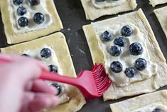 These Homemade Lemon Blueberry Cream Cheese danishes are pretty simple to make. The finished pastries are drizzled with frosting. Homemade Danish Recipe, Cream Cheese Danish, Lemon Cream Cheese Frosting, No Bake Desserts, Baking Desserts, Vegan Recipes, Cooking Recipes, Danish Food, Puff Pastry Recipes