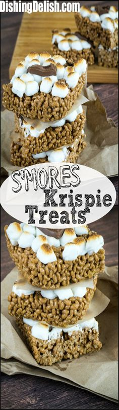 Repin to save recipe for later!  These s'mores krispie treats are sweet, crispy and easy to make. With the flavor of graham crackers, melted marshmallows and bits of chocolate, these gooey treats are sure to be the latest addition to your recipe box.