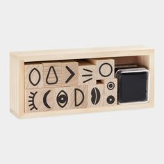 I love this for a kid or a groovy adult. You could stamp the face and color or paint on top of it! Looks like so much fun. / MUJI Funny Face Stamp Set #gift #creative