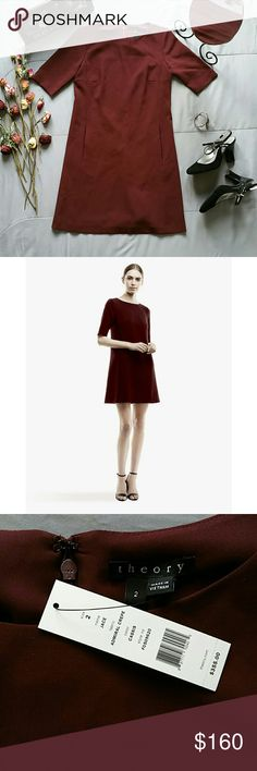 """THEORY JACE MINI SHIFT DRESS IN CASSIS *SALE IS FOR DRESS ONLY!  *FRANCO SARTO BLACK HEELS SIZE 8 SOLD SEPARATELY! BUNDLE AND SAVE!  BRAND NEW WITH TAGS  *THE RETAIL PRICE OF THIS SLEEK, CLASSIC, CHIC DRESS FROM THEORY IS $355 AND IS BEING OFFERED AT OVER 50% OFF THE MSRP. SERIOUS INJURIES ONLY PLEASE.  *FABRIC: ADMIRAL CREPE *COLOR: CASSIS *STYLE NO: F0509620 *SHELL 70% TRIACETATE 30% POLYESTER  *LINING 100% POLYESTER  *SLEEVES 11.5"""" *BUST 34"""" *SHOULDER TO HEM 32"""" *FRONT SLIT POCKETS…"""