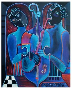 Jazz Duet II (Acrylic on stretched canvas)