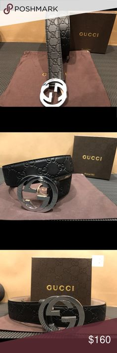 """✨ Brand New Men Gucci Belt Black Guccisima Authentic Men Gucci Belt!!  All of out products are 100% Authentic!!! Or your money back!  Comes with belt, box, tags and dustbag!!  1.5"""" width  Silver Interlocking GG Buckle   Made in Italy!  **Before opening a case or return, please contact us directly to help with a speedy retyrn or exchange! Especially since ebays new set of rules make things much harder for sellers.. Thank you!** Gucci Accessories Belts"""