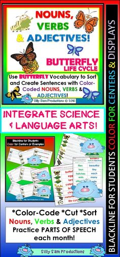 INTEGRATE SCIENCE & LANGUAGE ARTS! Practice Parts of Speech with BUTTERFLY LIFE CYCLE VOCABULARY! Black-line & Color for Centers. $
