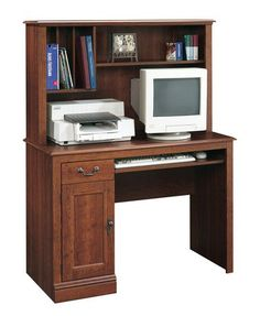 Sauder, Computer Desk With Hutch, Planked Cherry Finish, 101736