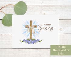 Printable Religious Easter Card, Religious Easter Card Printable, Easter Card Religious, He Is Risen, Easter Card Printable, Digital Printable Cards, Printables, Easter Religious, He Is Risen, Easter Card, Place Card Holders, Digital, Unique Jewelry, Handmade Gifts