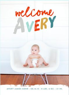 Bold typography with colorful print - modern birth announcement from @Minted.