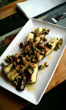 Roasted Zucchini with Pistachio Mint Gremolata - Chef Andrew Schenck