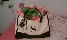 Monogrammed bag filled with 50 gifts for my aunt's 50th birthday! - She loved it by the way :)