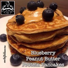 Blueberry Peanut butter protein pancakes  thefitbaldman.com