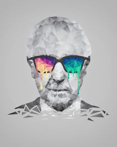 Albert Hofmann - Psychedelic Polygon Low Poly Portrait Art Print
