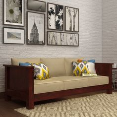 wooden sofa sets designs india bed reviews 2017 63 best images buy agnes 3 seater mahogany finish online in street