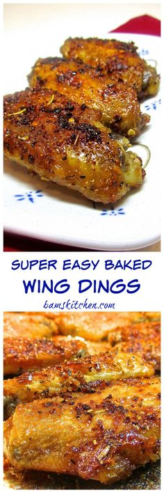 Super Easy Baked Wing Dings The skin is crispy and savory and too irresistible just to eat one. Tender on the inside and crispy on the outside. Makes about 44 chicken wings, give or take. Cook: 45 mins Yields: 4 Adults or 1 Hungry Teenager Frango Chicken, Wing Dings, Cooking Recipes, Healthy Recipes, Easy Recipes, Delicious Recipes, The Best, Snacks, Crockpot