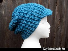 Easy Unisex Slouchy Hat - so fun and quick to knit.