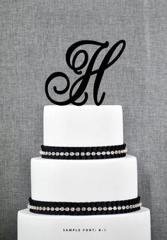 Personalized Monogram Initial Wedding Cake Toppers -Letter H, Custom Monogram Cake Toppers, Unique Cake Toppers, Traditional Initial Toppers...