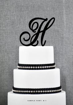 Personalized Monogram Initial Wedding Cake Toppers -Letter H, Custom Monogram Cake Toppers, Unique Cake Toppers, Traditional Initial Toppers...