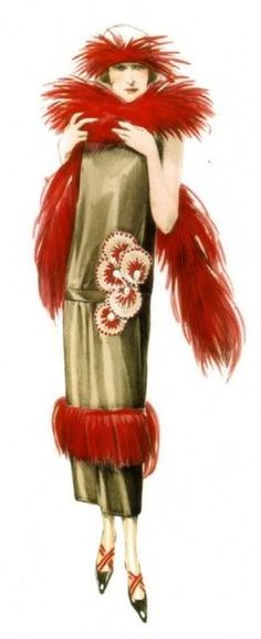 Bachwitz Atelier, 1922 Gorgeous red feather accents.