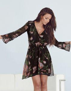 Michelle Keegan floral shift dress