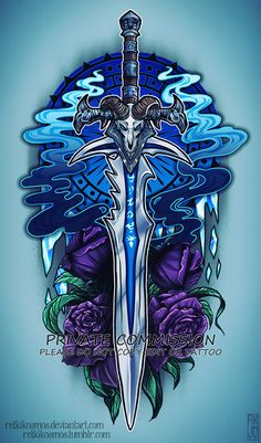 Lich King Sword Commission by RetkiKosmos Anime Weapons, Fantasy Weapons, Warcraft 3, World Of Warcraft, Witch Symbols, Sword Drawing, Gamer Tattoos, Dragon Sword, Lich King