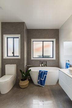 Images of Bathroom renovation in Ballina. All works completed by Northern Rivers Bathroom Renovations. Bathroom Images, White Bathroom, Bathroom Renovations, Corner Bathtub, Rivers, Grey And White, Gallery, Roof Rack, White Bathrooms