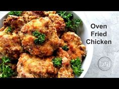 Look no further for the most delicious and easy Oven Fried Chicken recipe. Full of outstanding savory flavor, this chicken is moist on the inside and ... Oven Fried Chicken Thighs, Baked Fried Chicken, Fried Chicken Recipes, Oven Chicken, Poulet Caprese, Cooking Recipes, Healthy Recipes, Cooking Time, Pasta
