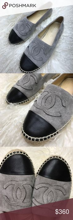 Authentic Chanel espadrilles size 37 Absolutely must have fashionistas shoes 👠 , authentic Chanel espadrilles in good preowned condition size 37 Suede leather gray with leather cup toe black CHANEL Shoes Espadrilles