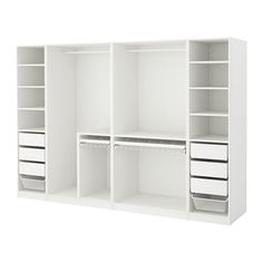 IKEA PAX Wardrobe White 300 x 58 x 201 cm 10 year guarantee. Read about the terms in the guarantee brochure. Bedroom Closet Design, Master Bedroom Closet, Ikea Bedroom, Bedroom Wardrobe, Wardrobe Design, Closet Designs, White Bedroom, Bedroom Storage, Bedroom Furniture