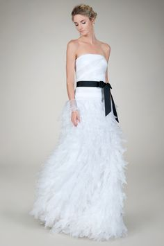 Hand Cut #Organza Strapless #Wedding Gown #TadashiShoji
