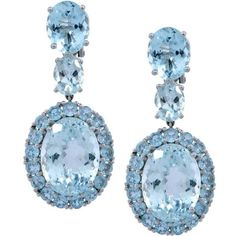 Preowned 18k White Gold 30ct Aquamarine Dangle Earrings ($2,703) ❤ liked on Polyvore featuring jewelry, earrings, drop earrings, white, earring jewelry, round earrings, aquamarine drop earrings and white earrings
