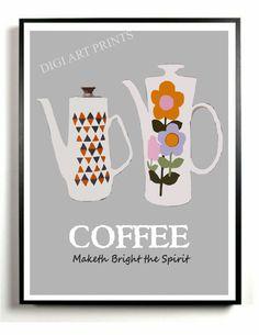 Kitchen Art Wall Decor Coffee Art Print Vintage by DIGIArtPrints, $15.00