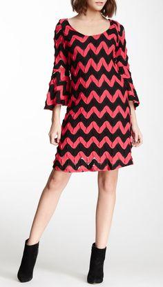 Wave Print Bell Sleeve Dress-Tx tech dress!