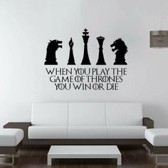 Game of thrones room decor win or die quote wall sticker game of thrones wall decal