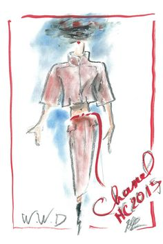 Karl Lagerfeld illustration of his upcoming Haute Couture 2015 show for Chanel. #couture