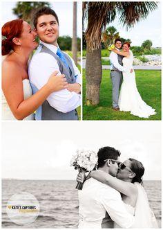Yellow + Blue Wedding // Bride + Groom Portraits // Pensacola, Florida // Sanders Beach Community Center // Kate's Captures Photography