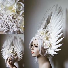 Angelic Bride Headdress: white wings, ivory roses and lace filigree, now available in my Etsy shop: https://www.etsy.com/shop/Serpentfeathers