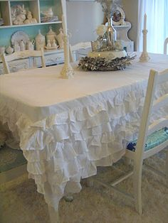 Not So Shabby - Shabby Chic: My Ruffled Table Cloth - I never thought of using a  bed skirt like this