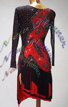 Women Ballroom Latin Rhythm Rumba Salsa Dance Dress US 6 UK 8 Black Red