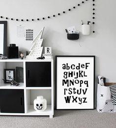 Monochrome alphabet printable for the kids room! #etsy #printable #ad