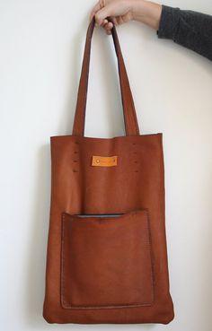 Handstitched Leather Brown Tote /Genuine by MudlandLeather