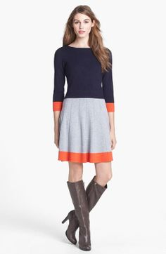 Colorblock Fit & Flare Sweater Dress : if you wear boots then you cant afford to ignore this outfits in winter season #winteroutfits