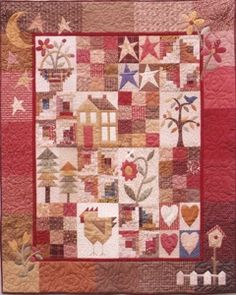 Lovely sampler quilt with a great variety of blocks pieced and appliquéd...pattern available at http://www.therabbitfactory.com