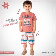Inspiração de como usar tom coral em look infantil masculino :)