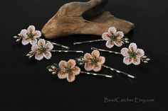 Custom set of cherry blossoms hair pins