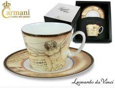 Carmani -  Filiżanka ze spodkiem - Leonardo da Vinci - Człowiek Witruwiański 240 ml